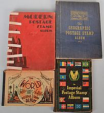 (4) MISC. EARLY 20TH CENT. POSTAGE STAMP ALBUMS WITH U.S. AND FOREIGN STAMPS