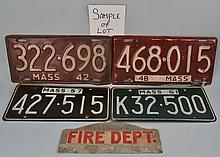 (26+) MISC. MASS. AUTOMOBILE LICENSE PLATES FROM 1942 TO 1966 INC. SOME PAIRS