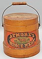 19TH CENT. ADVERTISING BANDED WOODEN FIRKIN FOR ATMORE'S CELEBRATED MINCE MEAT