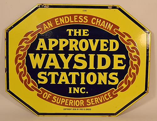 1926 DOUBLE SIDED ENAMELED ADVERTISING SIGN FOR THE APPROVED WAYSIDE STATIONS