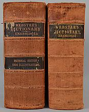 WEBSTER'S DICTIONARIES - 2 Volumes in Leather