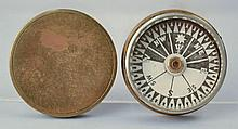 19TH CENT. SINGERS PATENT BRASS BOUND COVERED COMPASS