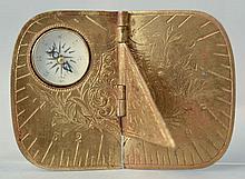 1875 BIRMINGHAM PATENT ENGRAVED BRASS FOLDING SUNDIAL COMPASS