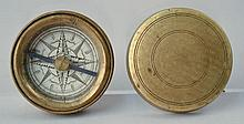 EARLY 19TH CENT. ENGRAVED ROUND BRASS BOUND COVERED COMPASS