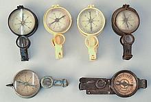 (6) MISC. W.W. I GERMAN MILITARY COMPASS BINOCULARS - WITH MIRRORS