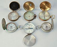 (6) MISC. 19TH CENT. - EARLY 20TH CENT. POCKET WATCH STYLE COMPASSES