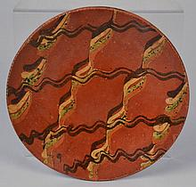 LARGE 19TH CENT. PA. TRI COLOR SLIP DECORATED REDWARE PIE PLATE