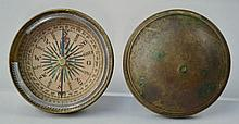 EARLY 129TH CENT. ROUND DOME TOP BRASS BOUND COVERED COMPASS WITH COLORED PAPER DIAL SIGNED P.H.