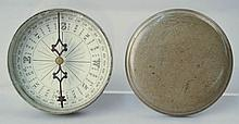 UNUSUAL EARLY 19TH CENT. ROUND PEWTER BOUND COVERED COMPASS