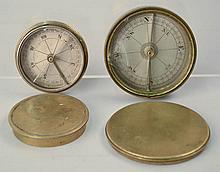 (2) EARLY 19TH CENT. ENGRAVEDROUND BRASS BOUND COVERED COMPASSES WITH ENGRAVED METAL DIALS
