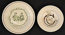 (2) 19TH CENT. STAFFORDSHIRE TRANSFER DECORATED CHILD'S A.B.C. PLATES INC. A SIGN LANGUAGE PLATE
