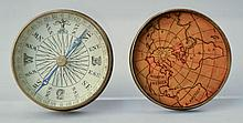 (2) EARLY 19TH CENT. ROUND BRASS BOUND COVERED COMPASSES