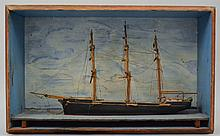 19TH CENT. N.E. CARVED AND PAINTED SHIP MODEL DIORAMA