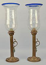 PAIR 19TH CENT. BRASS CANDLESTICK WITH ETCHED CLEAR BLOWN GLASS SHADES WITH COBALT RIMS