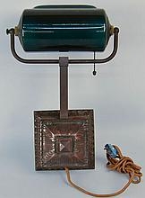 EARLY 20TH CENT. EMERALITE-TYPE GREEN CASED GLASS AND COPPER PLATED BRASS PIANO/DESK LAMP