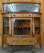 LATE VICTORIAN CARVED OAK AND MIRRORED D-SHAPED SIDEBOARD