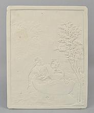 K.P.M. LITHOPANE PANEL DEPICTING A YOUNG COUPLE IN A BOAT
