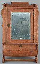 EARLY 20TH CENT. OAK AND MIRRORED SHAVING WALL CABINET