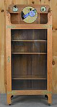 LATE VICTORIAN CARVED OAK AND LEADED GLASS BOOK CABINET