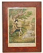 FRAMED 19TH CENT. COLOR LITHOGRAPH ENGRAVING OF THE PRODIGAL SON IN MISERY