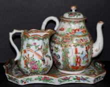 3 Pc. Chinese Export Rose Medallion Tea Set