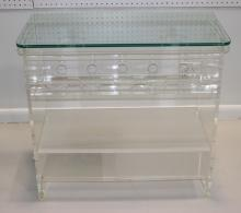 Mid-Century Lucite Acid Etched Glass Bar