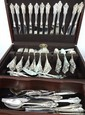 130 Pc. Wallace Grande Baroque Sterling Silver Flatware Set