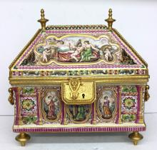 19th C. Large Bronze Mounted Capodimonte Casket