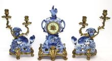 19th C. French Bronze & Porcelain Clock Set in Oriental Style