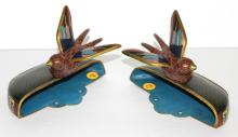 Pair of Antique Early 20th C. Cloisonne Wall Vases