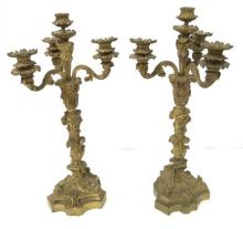 Pair of Antique French Dore Bronze Candelabras
