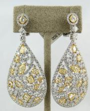 18Kt WG 9.53ct Diamond & 5.37ct Yellow Diamond Earrings