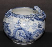 19th C. Antique Chinese Blue & White Porcelain Dragon Bowl
