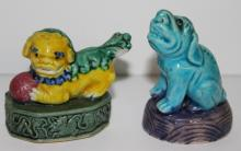 Two Chinese Porcelain Foo Dog Figures