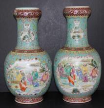 Pair of Chinese Antique Famille Rose Enameled Porcelain Vases