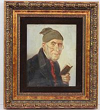 Ludwig Kandler (German 1851-1927) Portrait of a Man Wearing a Cap