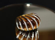 18Kt YG Tiger Eye & 0.65ct. Diamond Ring