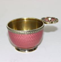 Early 20th C. Faberge Russian 88 Silver Sterling & Enamel Vodka Cup