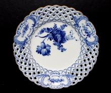 Royal Copenhagen Pierced Gilt Trimmed Blue Floral Porcelain Plate