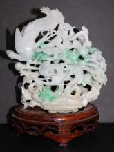 Finely Carved Jade Phoenix Bird Group