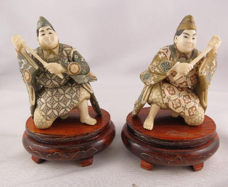 Pair of Chinese Polychrome Hand Carved Ivory Figures