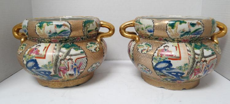 Pair of Chinese Hand Painted Porcelain Pots