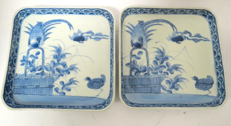 Pair of Chinese Hand Painted Porcelain Square Dishes