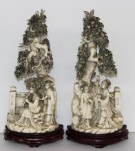 Pair of Chinese Carved Ivory Figural Groups