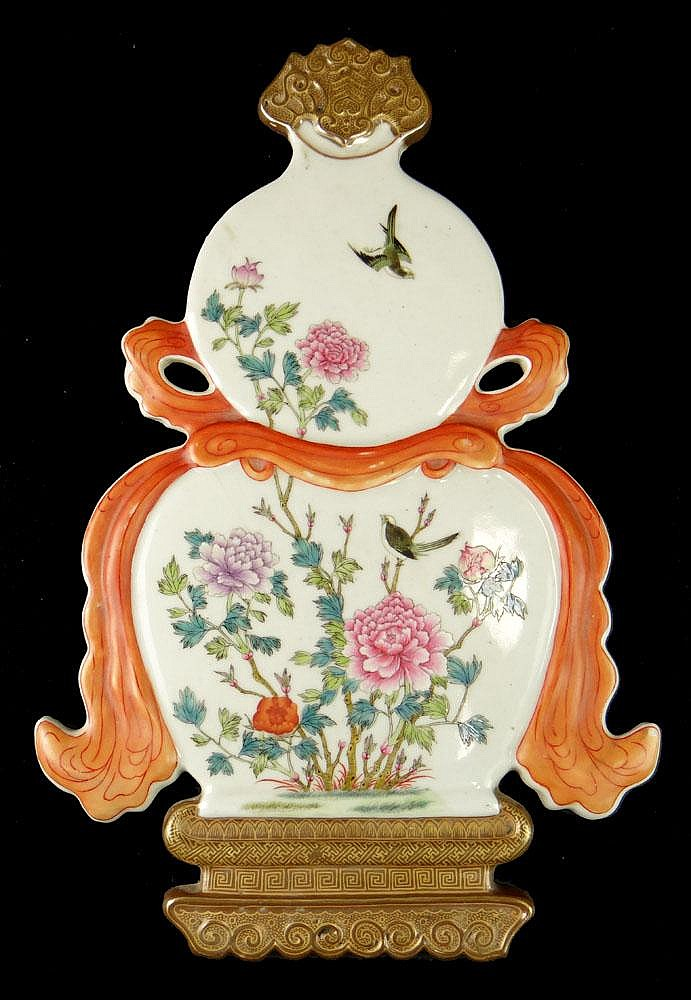 Chinese Famille Rose Porcelain Double Gourd Vase Wall Plaque. Unsigned. Good Condition or Better. Measures 14-1/2 Inches Tall and 9-5/8 Inches Wide. Shipping $68.00