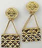 Pair of Chanel Paris France Goldtone Costume Jewelry Chanel Earrings with Clipback. Signed Chanel, 93-A, Chanel Logo and Made in France. Has Original Chanel Box. Very Good Condition. Measures Approximately 3 Inches Long and 1-3/8 Inches Wide.