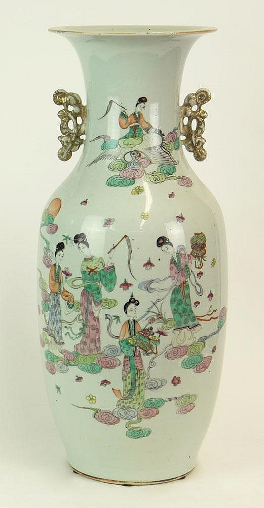 19/20th Century Chinese Famille Rose Porcelain Baluster Vase. Calligraphy Poem to Back of Vase Otherwise Unsigned. Good to Very Good Condition with Remnant of Wax Export Seal. Measures 22-1/4 Inches Tall and 9 Inches Diameter. We Will Not Ship This