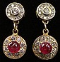 Petite Italian Round Brilliant Cut Diamond and Cabochon Ruby Earrings Set and 14 Karat Yellow Gold. Signed 14K, Makers Mark and Italian Numerals. Very Good Condition. Weighs 2.30 Pennyweights. Less Than an Inch Long. Shipping $26.00