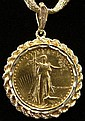 1986 Ten Dollar US Liberty $10.00 Gold Coin Bezel Mounted on 14 Karat Yellow Gold Mesh Chain. Coin Weighs 1/4 of an Ounce of Fine Gold. Total Weighs 14.70 Pennyweights. Wear to Mesh Chain or else Overall Good Condition. Chain Measures 15-1/2 Inches.