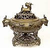 Large Early to Mid 20th Century Japanese Bronze Censer with Bronze Stand and High Relief Flora and Fauna Decoration. Mark to Underside. Good Condition or Better. Measures with Stand 15-1/2 Inches Tall and 18 Inches Wide. Shipping $135.00